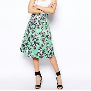 ASOS mint floral quilted midi skirt size 0